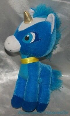 "Classic Toy Co Plush 12"" Fluffy Cobalt Blue Baby Unicorn Golden Horn Sewn Eyes"