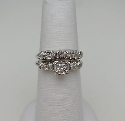 1/4 CT Vintage Antique Diamond Engagement Wedding Ring Set 14K Gold Anniversary