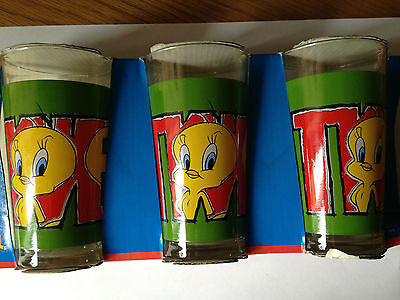 Looney Tunes Tweety Pie Collectable Drinking Glasses, Set of 3, NEW