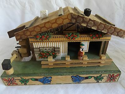 Charming Vintage Swiss Wooden Chalet Weather House Barometer Edelweiss Music Box