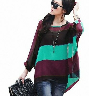 Sexy Fashion Women's Batwing Sleeve Contrast Green Vest Blouse Tops Green S