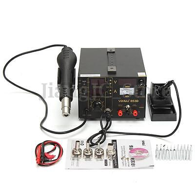 853D 3 in 1 Soldering Rework Station Solder Iron SMD Hot Air DC Power Supply Kit
