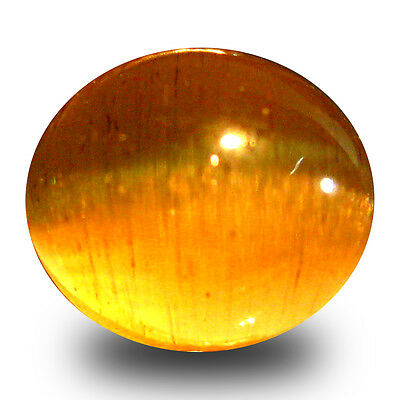 3.35 ct AAA  Oval Cabochon Shape (8 x 7 mm) Honey Brown Green Apatite Cat's Eye