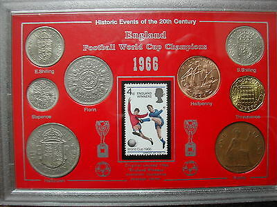 1966 coin set with England Winners stamp - cased