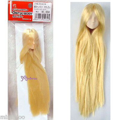 Obitsu 1/6 BJD Dollfie Female Body White Skin Doll Head 01 Long Rooted Hair GOLD