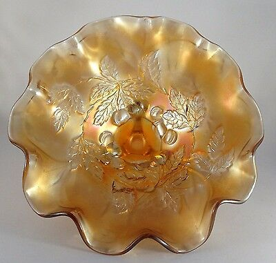 Antique Marigold Carnival Glass Footed Bowl-Fenton?