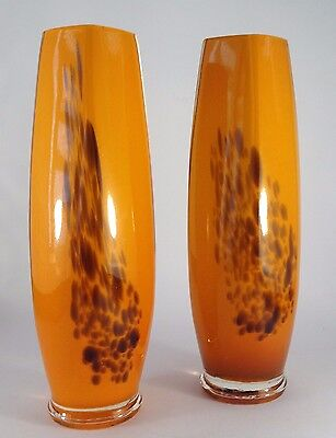 Vintage Art Glass-A Pair Of Cased Glass Vases-Mid Century?