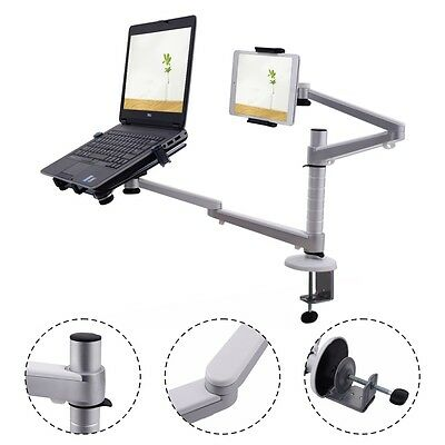 2 In 1 Laptop Ipad Stand 360° Rotating Height Adjustable Tablets Desk Mount
