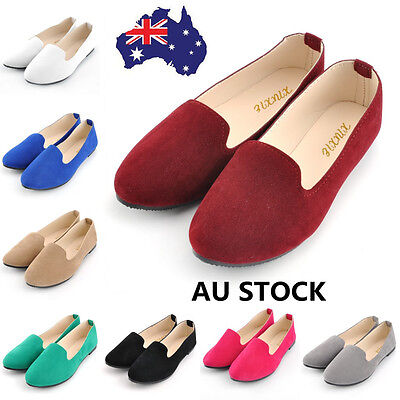 AU 4-7 Women Flat Slip-On Boat Shoes Casual Ballet Work Faux Suede Loafer Shoes