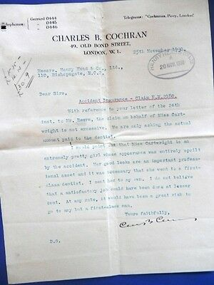 Charles B. Cochran (1872-1951) Theatre Manager & Impresario Typed Signed Letter
