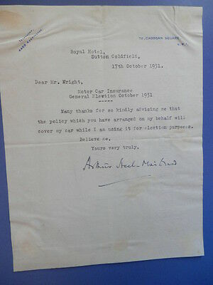 Sir Arthur Steel-Maitland  Politician - Minister of Labour - Typed Signed Letter