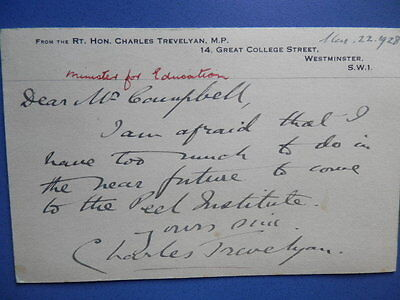 Sir Charles Trevelyan, 3rd Baronet (1870-1958) - Politician - Hand Signed Note