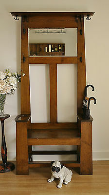 Rustic Antique Oak Hallstand / Hat & Coat Stand / Hall Stand / Hall Seat ~c1920s