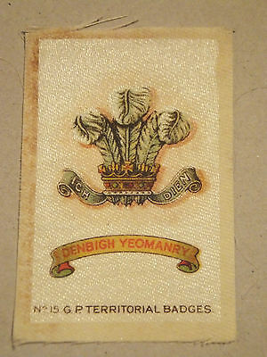 Denbigh Yeomanry Territorial Badge, silk, WW1, Army