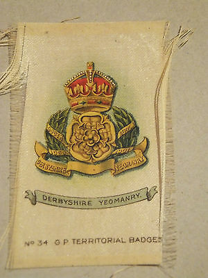 Derbyshire Yeomanry Territorial Badge, silk, WW1, Army