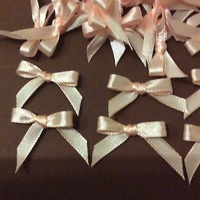 10 Pretty in Peach 6mm Ribbon bows for card making/scrap booking  -help charity