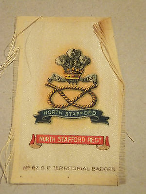 North Stafford Regiment Territorial Badge, silk, WW1, Army