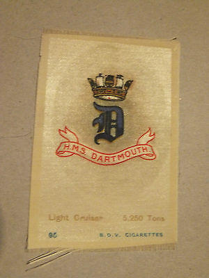 HMS Dartmouth, Light Cruier Ship, silk, WW1, Royal Navy