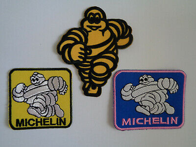 3 Motor Sport Patches Sew / Iron On Pit Crew Mechanic Overalls Michelin Man