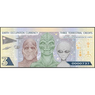 TWN - EARTH OCCUPATION CURRENCY 3 Terrestrial Cr. 2014 UNC Polymer Private issue