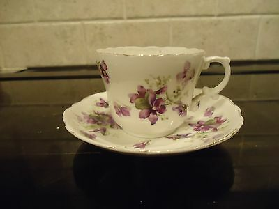 Vintage Hammersley &co China Cup And Saucer, Victorian Violets Pattern,1912-39