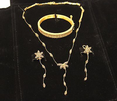 22ct Gold & Champagne Diamond Necklace, Bangle and Earring Set 51.19 grams