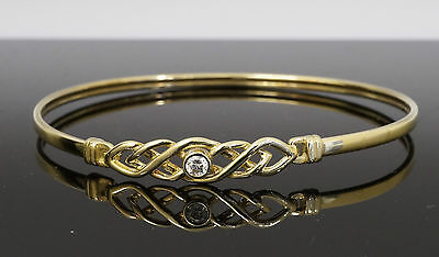 9Carat Fancy Yellow Gold Celtic Simulated Diamond Hook Bangle 7.25""