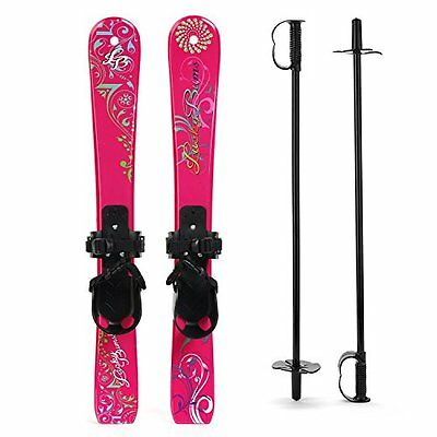 Lucky Bums Kids Beginner Snow Skis and Poles Pink Paisley