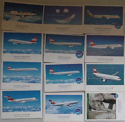 AIRLINE ISSUED POSTCARDS : SET 12x  AUSTRIAN AIRLINES