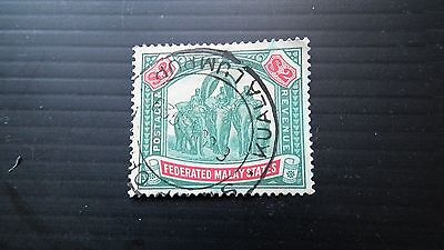 Federated Malay States ,$2 used Stamp. Wmk multi script ca. SG78. CAT VAL £80 +.