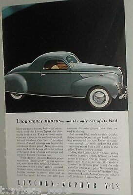 1938 Lincoln ZEPHYR advertisement, LINCOLN Zephyr coupe, V-12, color photo