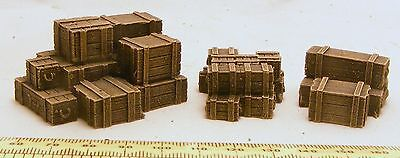 wooden crates set 28mm Fantasy, historical and science fiction scenery