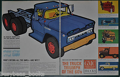 1961 GMC TRUCKS 2-page advertisement, 5500, pickup, engines etc large format ad