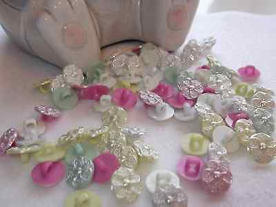 Wedding/Baby Flower Buttons - Pearl Centre- Size 20 (13mm) Various Colours