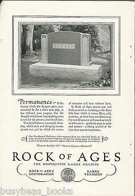 1928 ROCK OF AGES advertisement, STOCKER name on Tombstone, Headstone