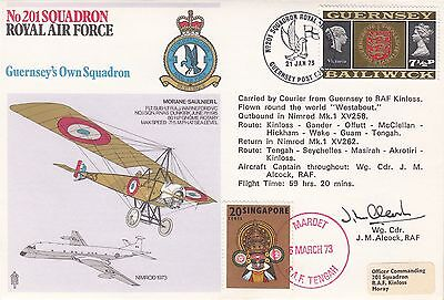 RAF9c 201 Sqn Guernsey's Own Sqn Flown round the World Signed 12 crew Members