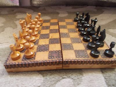 Vintage Small Wooden Chess Set, Folding Box, Made In Bulgaria