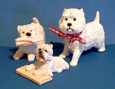 Group Of Three West Highland Terrier Ornaments