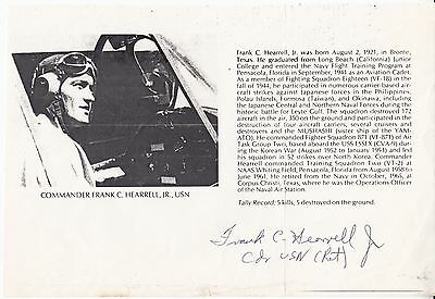 Piece with Details Signed Commander Frank C Hearrell USA Pilot Ace 5 Victories