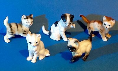 Group Of Five Small Ceramic Cat Ornaments