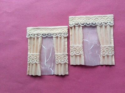 """2 Soft apricot dolls house curtains  3.5"""" X 4"""""""