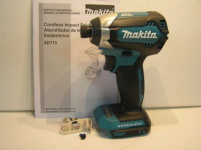 "New Makita Lithium 18V Brushless Impact Driver 1/4"" Hex Xdt13 'bare Tool"