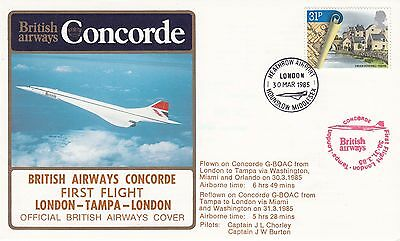 BA Concorde 1st Flight London to Tampa to London.flown on Concorde G BOAC