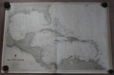 VINTAGE ADMIRALTY CHART 3273 WEST INDIES Updated to 1955