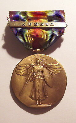 VINTAGE WW I Victory Medal with RUSSIA BAR