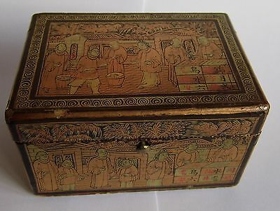 19th Century Antique Chinese Gold & Black Lacquered wooden trinket box