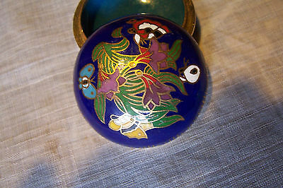 cloisonné pill or trinket box,  floral & butterfly design, excellent condition