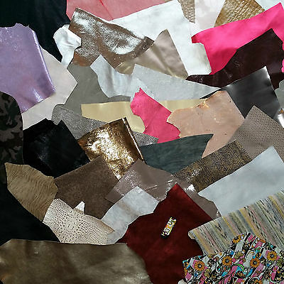 Effect Leather 500 g blanks KG Fantasy Embossed Metallic Colourful Pieces