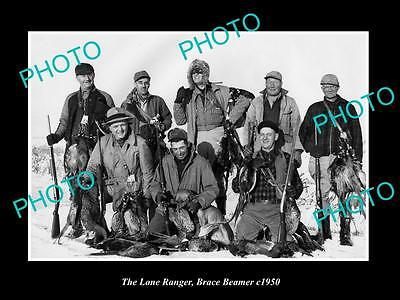 OLD HISTORIC PHOTO OF BRACE BEEMER AS THE LONE RANGER WITH HUNTING PARTY c1950