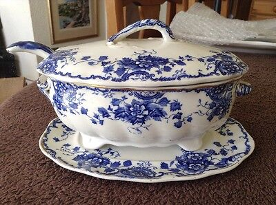 Victorian Blue And White Doulton Burslem Tureen , Ladle Cover And Saucer